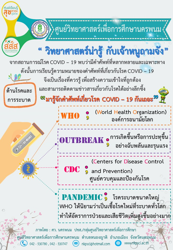 คำศัพท์เกี่ยวกับโรค COVID-19 ด้านโรคและการระบาด